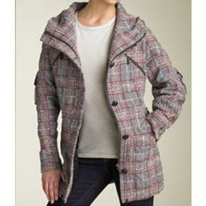 LAMB by Gwen Stefani Plaid Tweed Bee Hooded Parka